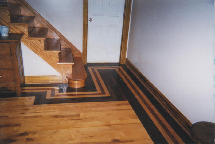 Hardwood Floor Inlays custom inlay Basement Hardwood Floor With Thick Inlay Border